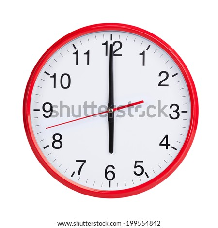 Six hours on a red round dial - stock photo