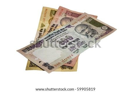 Six hundred fifty Indian Rupees (INR) (Re) in banknotes on a white background. - stock photo
