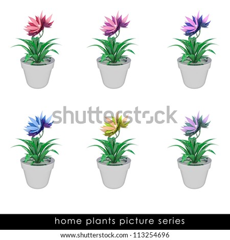 six isolated cropped colorful houseplants  in chrome metallic flowerpot design illustration
