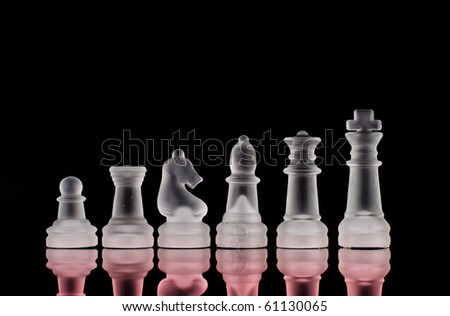 Six Main Pieces of Frosted Crystal Chess Pieces