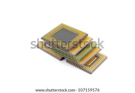 Six microprocessors over white