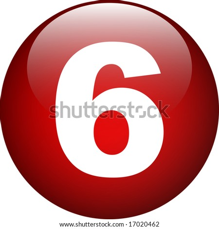 six (6) number button - stock photo