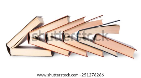 Six old books imbedded in one another isolated on white background - stock photo