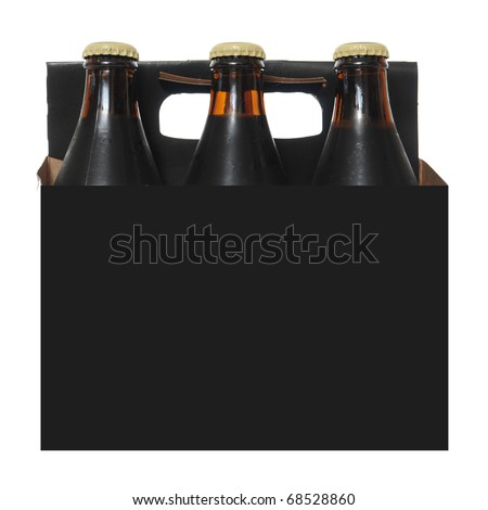 Six pack cardboard carton with dark beer bottles isolated on white background - stock photo