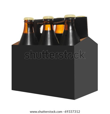 Six pack of Beer bottles in a cardboard carton with  isolated on white background - stock photo