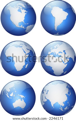 six pack of shiny, schematic aqua style globes showing different continents isolated on white