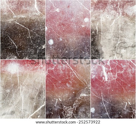 six patterned multicolored marble texture background (natural color). - stock photo