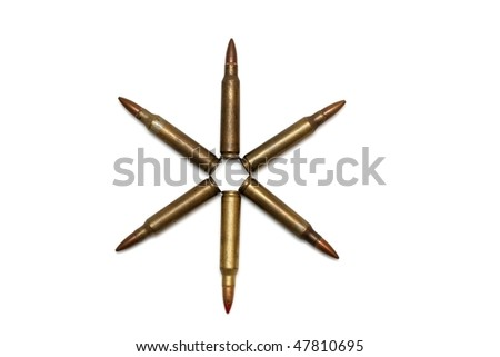 Six-pointed star of M16 cartridges isolated - stock photo