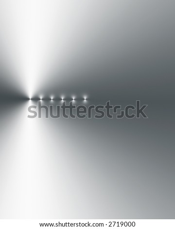 Six points of light in a vertical line, left side bias,  on a silver grey and white gradient background. - stock photo