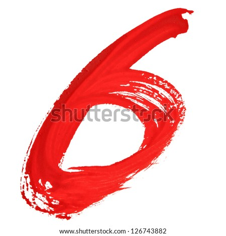 Six - Red handwritten numerals over white background
