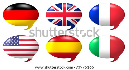 Six speech balloons with the design of the flags of USA, Germany,Great Britain, France, Italy and Spain - stock photo
