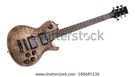 six-string black electric guitar, isolated on white - stock photo