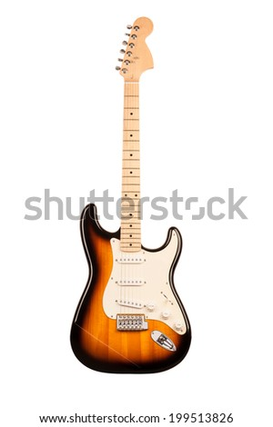 six-stringed electric guitar isolated on white background - stock photo