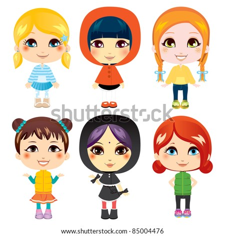 Six sweet little girls from diverse ethnic groups with different clothing styles