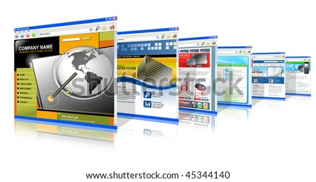 Six technology internet business websites are standing upright. They have a 3-D perspective. Has white isolated background. - stock photo