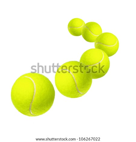 Six tennis balls isolated on white - stock photo