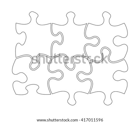 Six transparent jigsaw shape outlines on white background