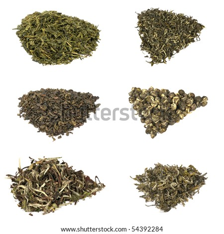 Six types of elite chineese green tea isolated on white background