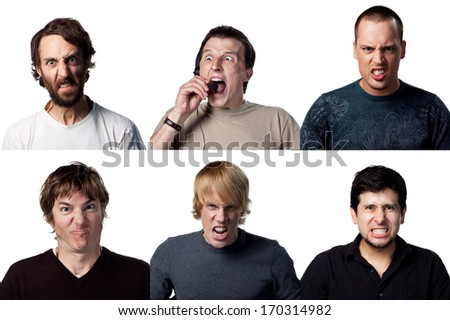 Six very angry young men portraits - stock photo