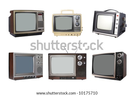 Six Vintage TV's - stock photo