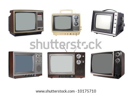 Six Vintage TV's - stock photo