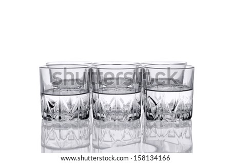 Six Water glass. Isolated on white background. - stock photo