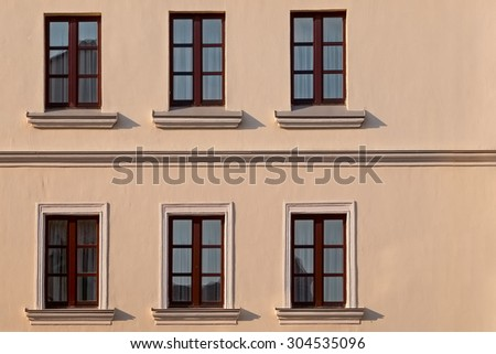 six windows in two lines - stock photo