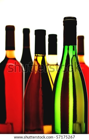 Six wine bottles on a white background. - stock photo
