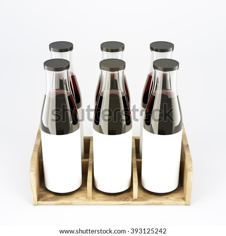 Six wine bottles with wide neck in wooden box, blank labels on them. White glass. Concept of bottling wine. Mock up. 3D rendering. - stock photo
