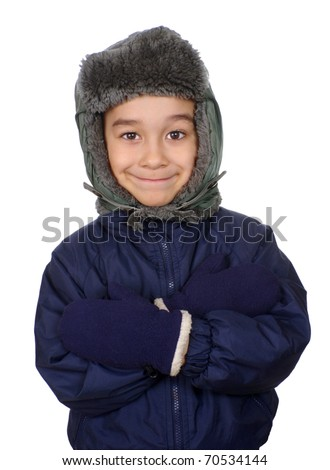 Six year old boy in winter clothes with arms crossed and smug expression, isolated on pure white background - stock photo