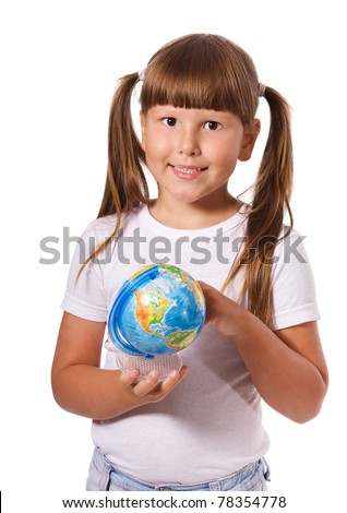 six years girl with globe isolated on white