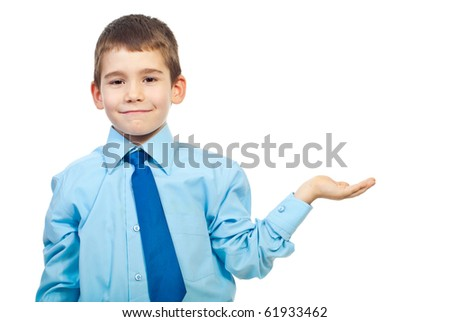 Six years old boy make a presentation isolated on white background - stock photo
