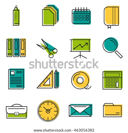 Sixteen colored thin line office icons. Use for web design. Paper and calendar, postal envelope and folder with files