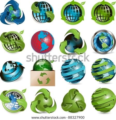 sixteen icons of the globe on white background - stock photo