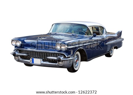 Sixties in America - Big Heavy V8 Caddy (Clipping Path Included) - stock photo