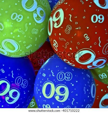 Sixtieth Birthday Balloons;  60th birthday balloons background image  - stock photo