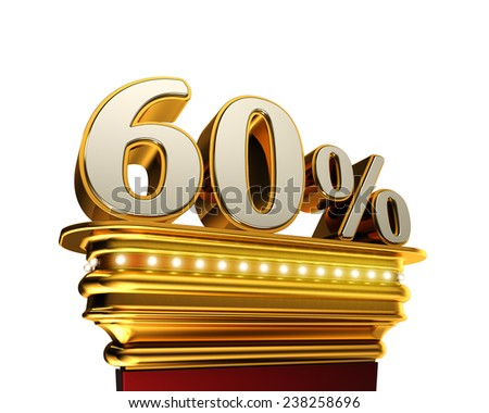 Sixty percent figure on a golden platform with brilliant lights over white background - stock photo