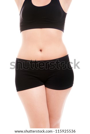 Size 40 woman's body isolated over white background - stock photo