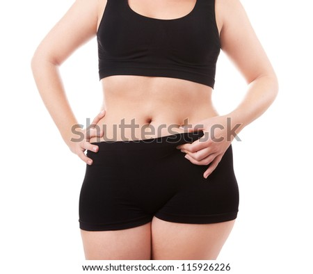 Size 40-42 woman's body isolated over white background - stock photo