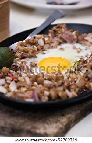 Sizzling Chopped Pork Dish - stock photo