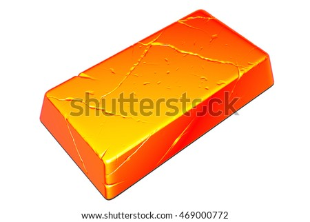 Sizzling hot metal blank ready for forging and hammering isolated on white 3d rendering