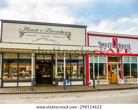 Skagway, Alaska, United States - August 7, 2009: Klondike Gold Rush National Historic Park. Historic buildings are interspersed with new modern buildings. Its streets seem to come from in another age.