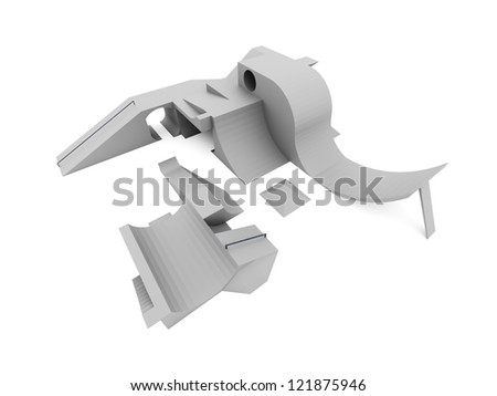 Skate park rendered and isolated on white background