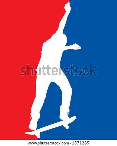 Skate USA red white and blue.  Includes clipping path. - stock photo