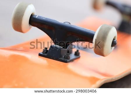 skateboard and wheels - stock photo