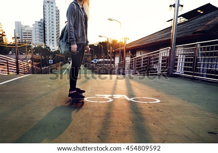 Skateboard Extreme Sport Skater Street Recreational Activity Concept