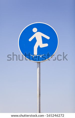 Skateboard funny road signs - stock photo