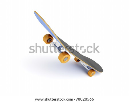 Skateboard in jumping position on white background