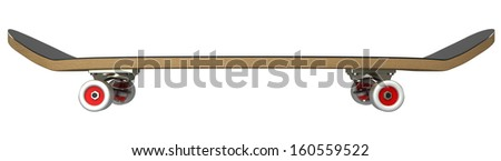 skateboard. isolated. white background. 3d - stock photo