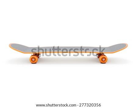 Skateboard on a white background. 3d illustration. - stock photo